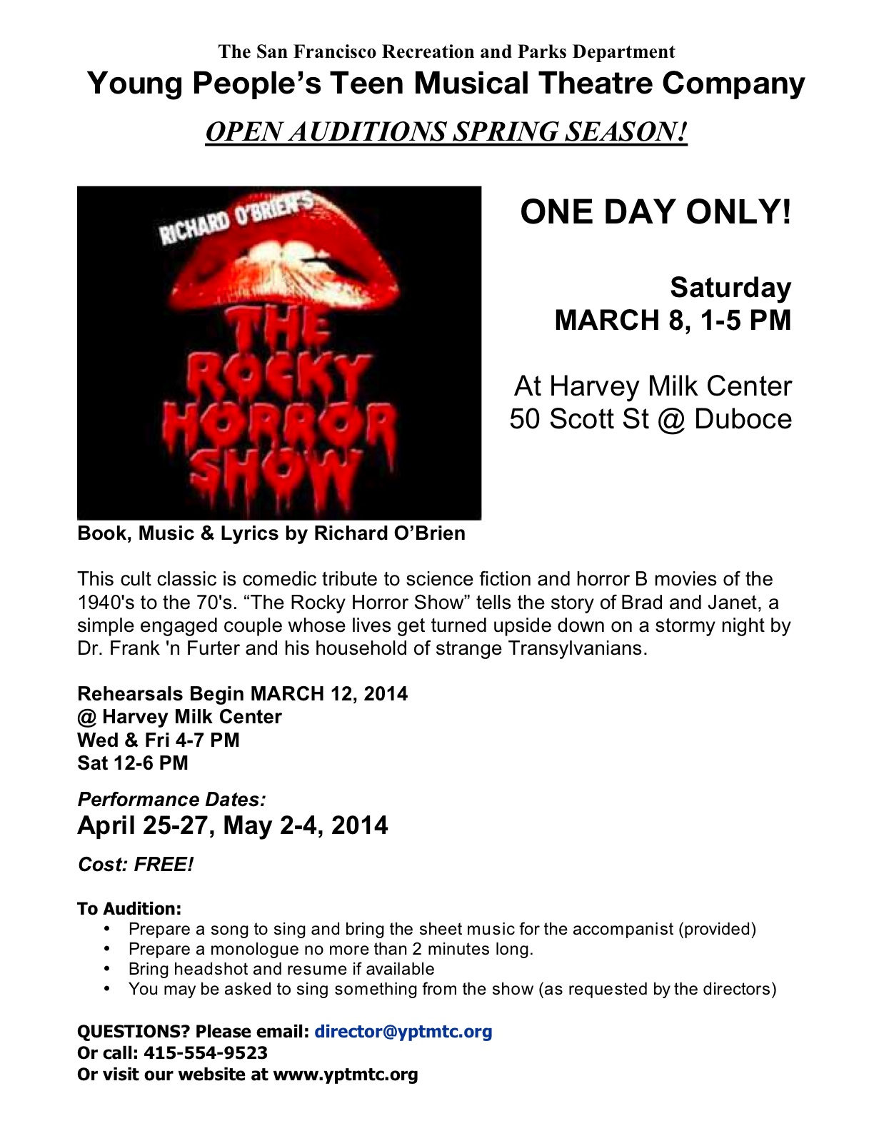 "OPEN AUDITIONS for ""THE ROCKY HORROR SHOW!"" 1 DAY ONLY - Saturday, March 8, 1-5 PM @ Harvey Milk Center"